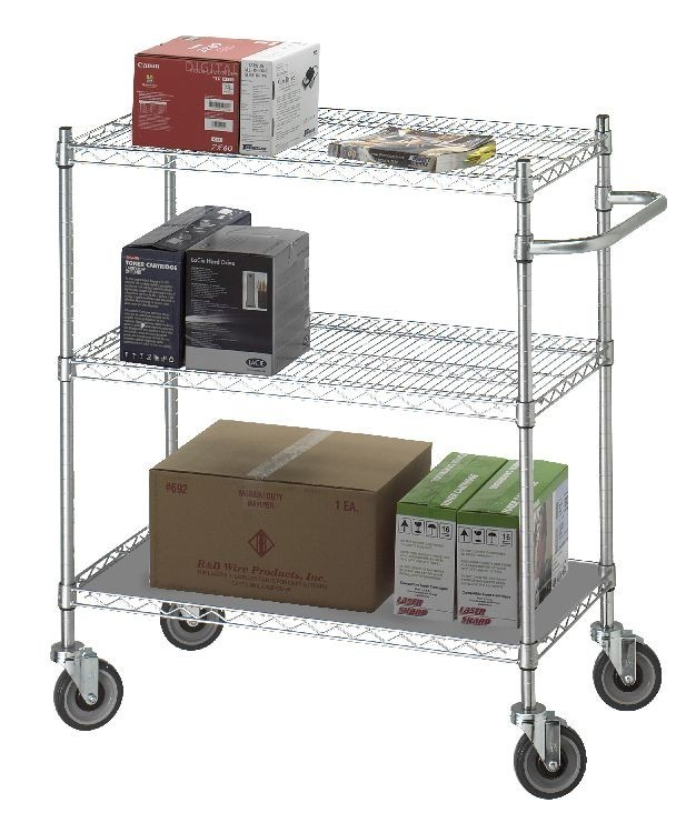 Linen Cart 18x36x42 w/Solid Bottom 16 gauge Chrome Plated Shelf Model UC1836SOL
