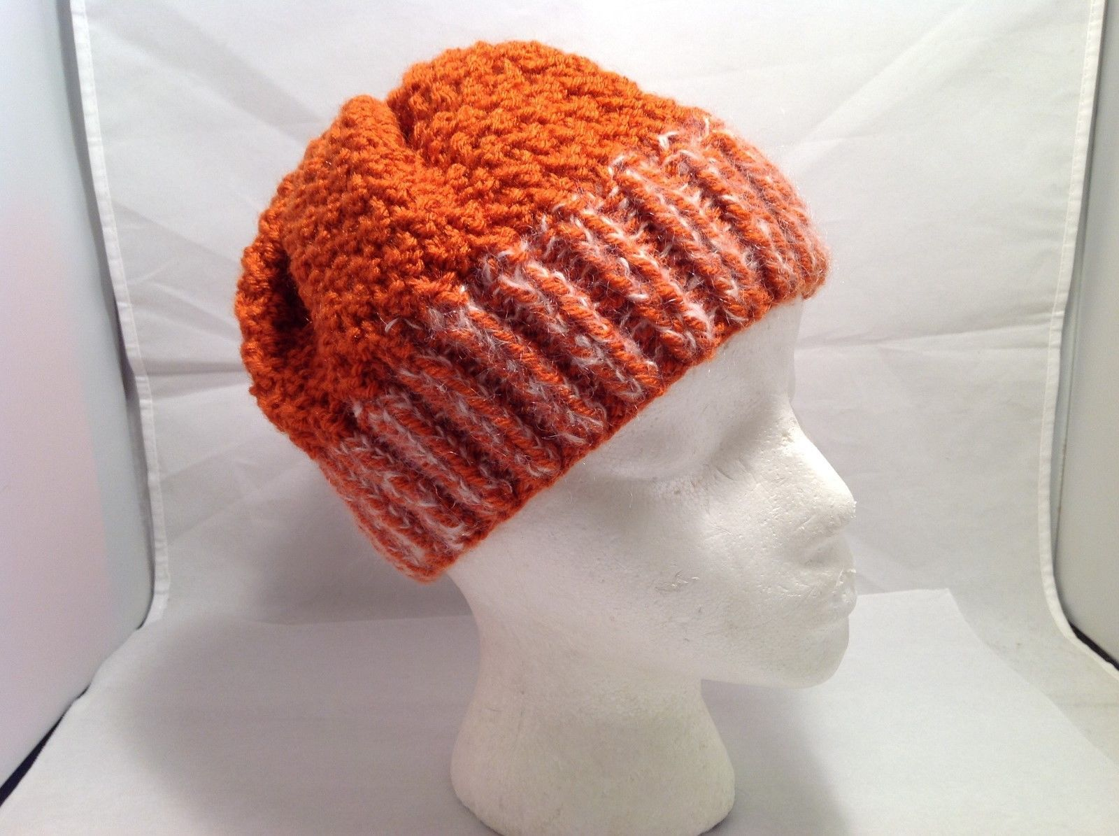 Beautiful European/German Hand-Knit Orange Wool Mohair Beanie Cap Hat