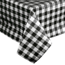 25 Yard Roll Black and White Gingham Checked Vinyl Table Cover with Flan... - €98,74 EUR