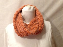 German Hand-Knit Orange Infinity Scarf