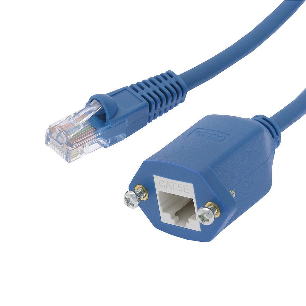 25 ft cat5e rj45 ethernet network screw panel mount blue. Black Bedroom Furniture Sets. Home Design Ideas