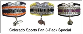 COLORADO Sports Bracelet 3 Pack Gift Special - Broncos, U of Colorado & ... - $25.99