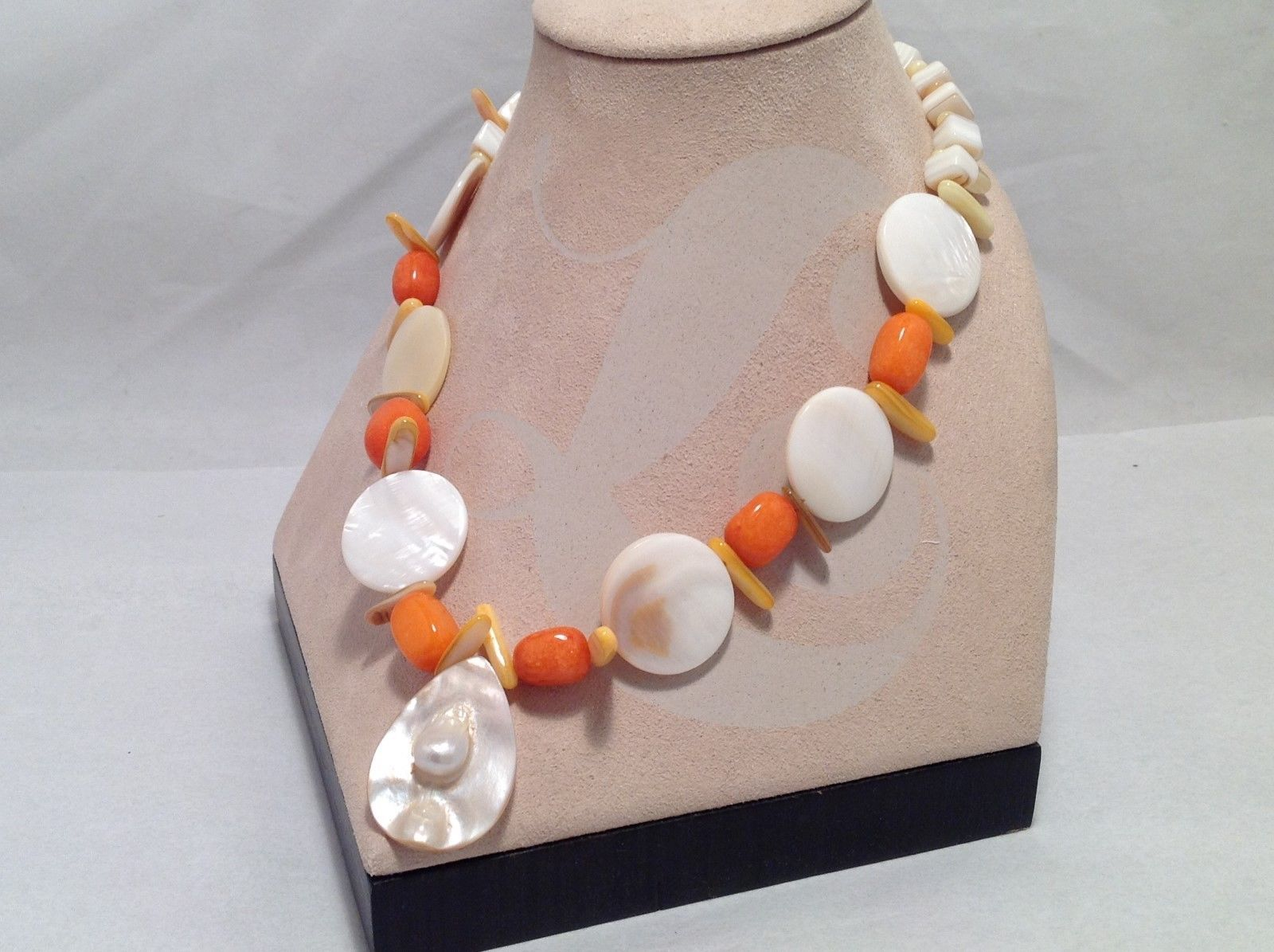 NEW One of A Kind Shell/Bead Necklace in White/Orange