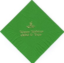 CHRISTMAS CANDLES LOGO 50 Personalized printed cocktail beverage napkins - $10.88+