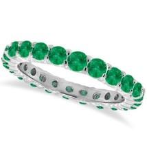 1ct Emerald Anillo de Eternidad 14K Oro Blanco - £461.11 GBP