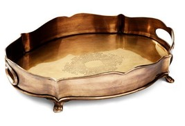 Antique Brass Gallery Chippendale Serving Trays,14''L  x 10.5''W-Set of ... - €209,38 EUR