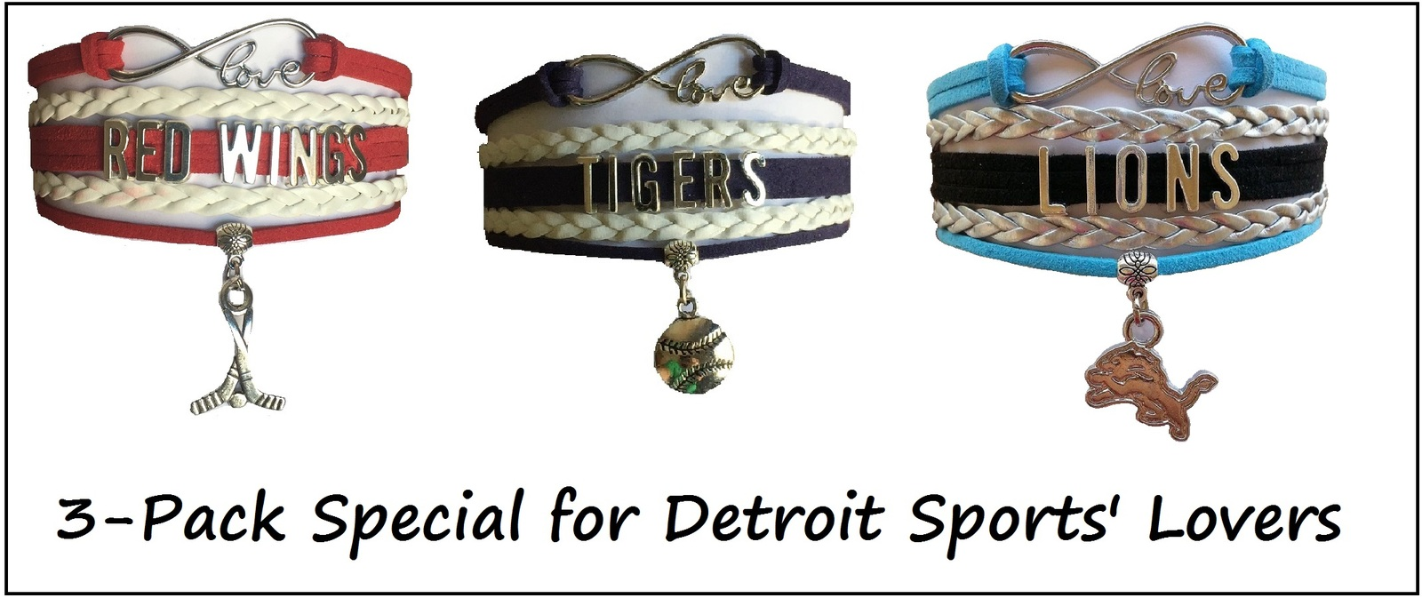 DETROIT Sports Bracelet 3 Pack Gift Special - Red Wings, Lions AND Tigers!!