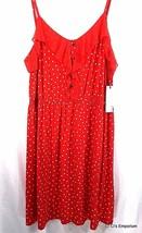 Elle Sail Away Ruffled Neckline Dress XXL Red White Polka Dot Spaghetti ... - $29.69