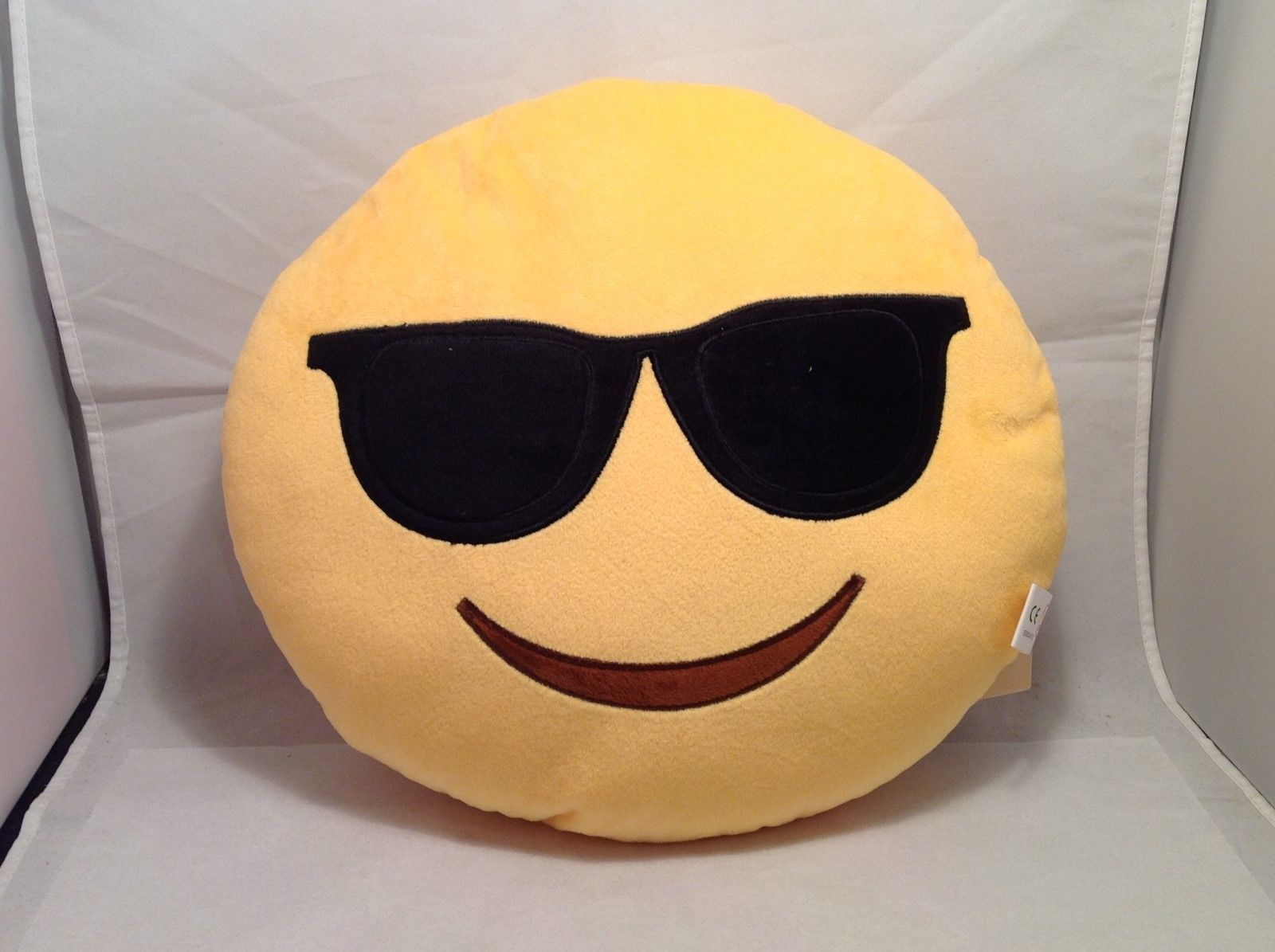 Cute Funky Emoji Yellow Round Pillow