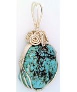 Turquoise Silver Wire Wrap Pendant 38 - $33.99