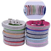 Personalized Pu Leather Dog-Collar Rhinestone Buckle Collars For Dogs Sm... - $3.99+