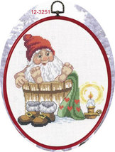 Elf In Shower Christmas Ornament kit counted cross stitch Permin Copenhagen - $45.00