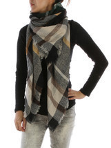 CHECKERED PLAID  SOFT YARN BLANKET SCARF - £17.05 GBP