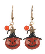 HALLOWEEN  PUMPKIN WITCH  EPOXY COATED METAL EARRING - $18.60