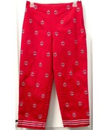 Talbots Petites STRETCH Capris NAUTICAL ANCHOR Embroidered Crop Pants Si... - $13.90