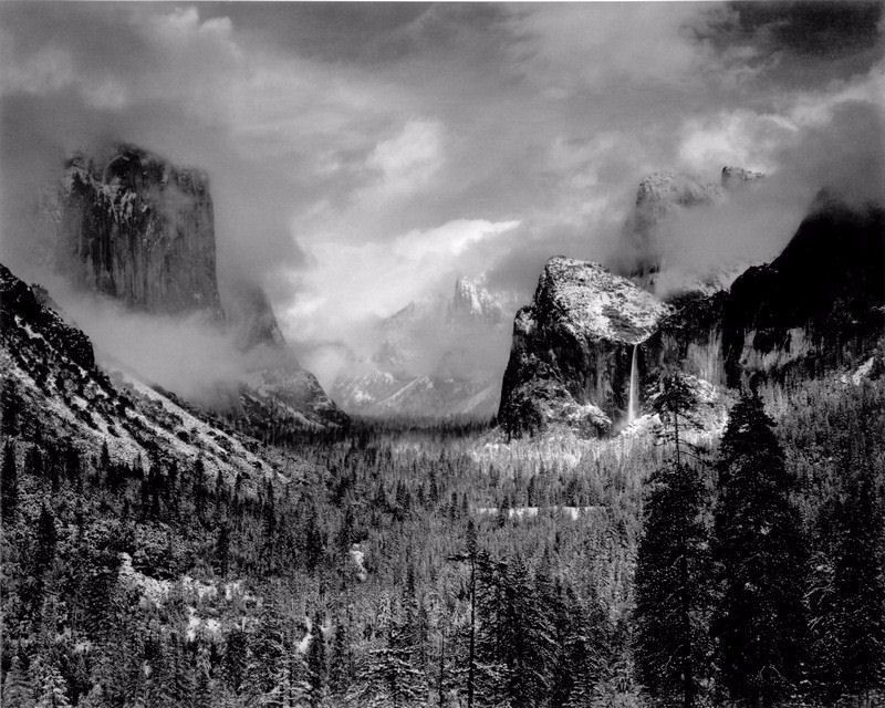 ANSEL ADAMS YOSEMITE VALLEY CLEARING WINTERSTORM FINE ART PRINT 32x24 for sale  USA