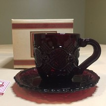 Avon 1876 Cape Cod Ruby Red Cup & Saucer Set with Box - $14.84