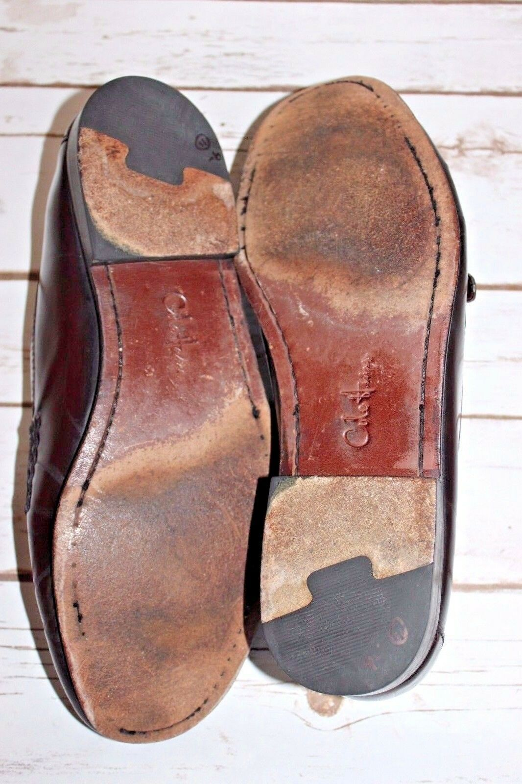 Cole Haan Men's 11.5 E Leather Slip On Loafers Fringe Kiltie Strap Buckle Wide