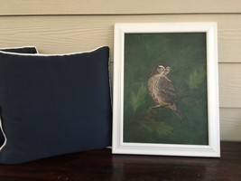 Oil on canvas board Owl painting signed American Barbara Haskell 1974 18... - $200.00