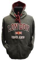 LE129ZCM GWCC Unisex London England Zipped Hooded Sweatshirt Charcoal Ma... - $29.99