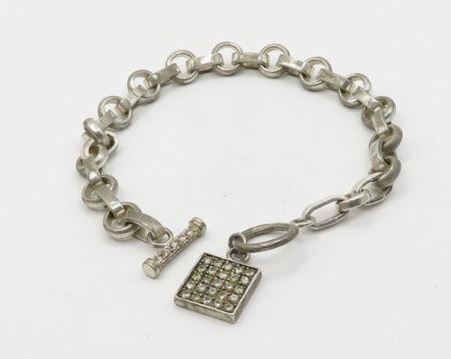 925 Sterling Silver - Vintage White Topaz Charm Chain Bracelet - B2076