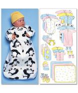 Butterrick Pattern B4533 Infants' Bunting, Jumpsuit, Shirt, Diaper Cover... - $13.95