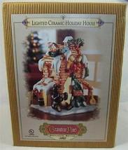 Grandeur Noel Lighted Ceramic Holiday House Gone Fishing 2002 Collector Series - $15.99