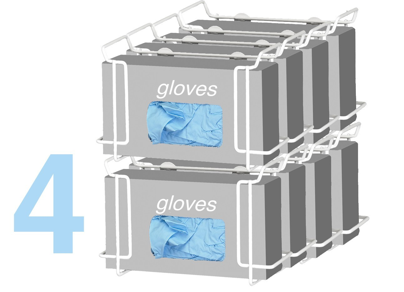 Double Wire Glove Box Dispenser, White (4 pack) Model Number 552B