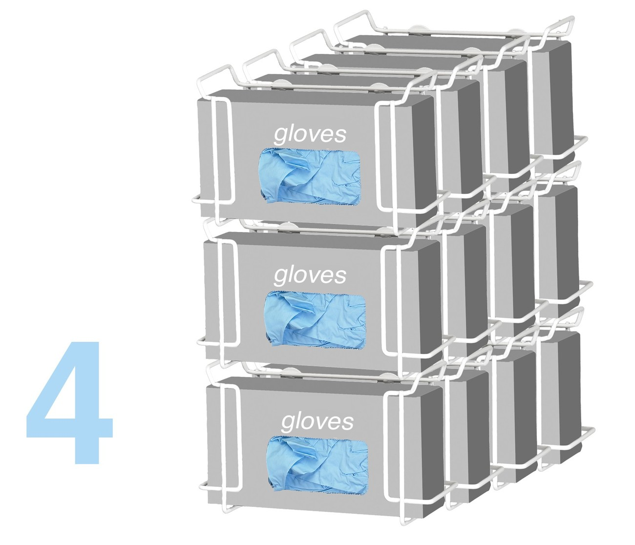 Triple Wire Glove Box Dispenser, White (4 pack) Model Number 553B