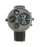 New Mens Brown Dual Time Compass Calendar Quart... - $21.78