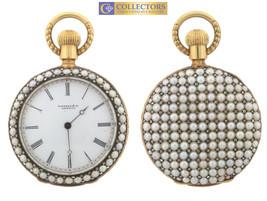 RARE Antique Genuine Tiffany & Co. 18K Gold Pearl Diamond Open Face Pock... - $6,999.95