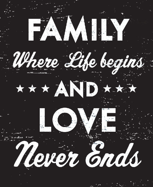 Rustic Wooden Sign Family Where Life Begins And Love..Size 9 x 10 - Item 2585 *