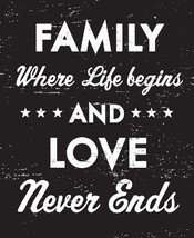 Rustic Wooden Sign Family Where Life Begins And Love..Size 9 x 10 - Item... - $24.00