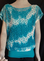 Diagonal Whimsical 2-Piece Blue White Attached Shirt Blouse Top - $8.15