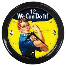 Rosie the Riveter National Feminism Symbol Wall Clock (Black) model 22805618 - $18.99