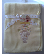 Nuby Yellow Blanket Mommy Loves Me Soft Fleece Monkey Applique  - $12.95