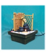 Bamboo Fence with Spout Zen Garden Water Fountain with Candle Holder - $67.14
