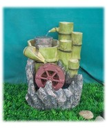 Bamboo Spouts, Millstone and Water Wheel Feng-shui Tabletop Fountain - $83.94
