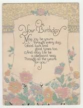 Vintage Birthday Card Pastel Flowers Silver Trim 1931 Beautiful - $8.90
