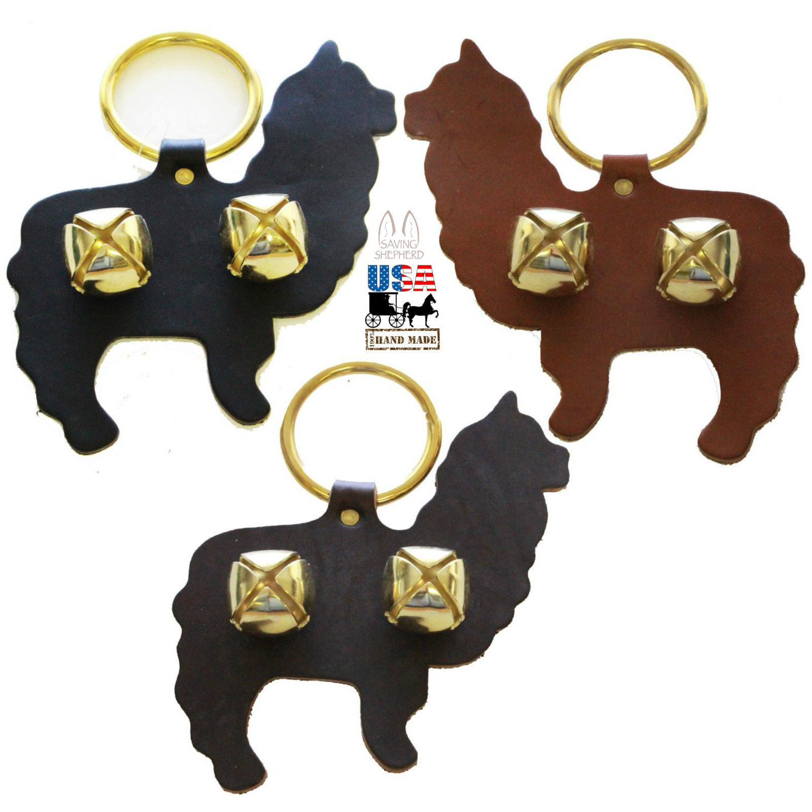 Primary image for ALPACA DOOR CHIME - BROWN LEATHER w/ BRASS SLEIGH BELLS Amish Handmade in USA