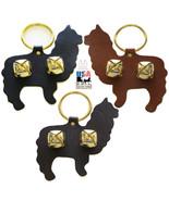 ALPACA DOOR CHIME - BROWN LEATHER w/ BRASS SLEIGH BELLS Amish Handmade i... - $19.57
