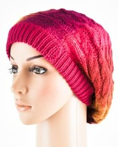 Women's Pink Ombre Pattern Slouchy Cable Knit Beanie Cap - ₨581.20 INR