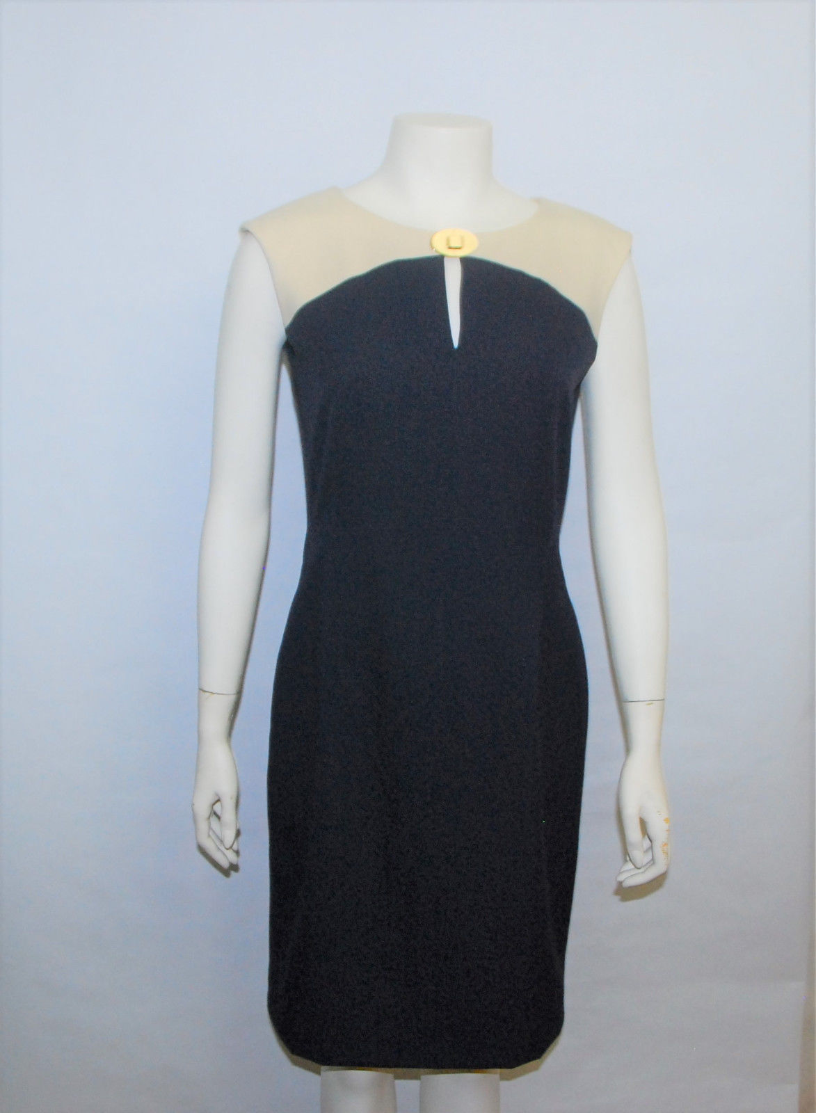 Primary image for Calvin Klein Blue Beige Sleeveless Sheath Business Party Dress 4% Spandex Size 6