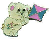 12 Pins - BEAR FLYING A KITE , hat tac lapel pin #4008