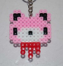 Groomy Bear Head Key Ring Charm Mascot - Perler Beads Hand Made Craft Art - $7.99