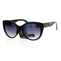Flower Floral Print Sunglasses Womens Round Butterfly Frame Black UV 400 - $10.84