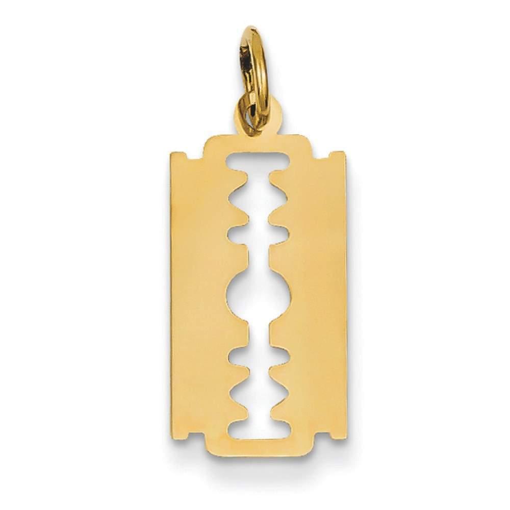 14k Yellow Gold Polished Razor Blade Charm Pendant For