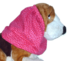 Dog Snood Pink Mini Leopard Print Cotton by Howlin Hounds Puppy SHORT - $9.50