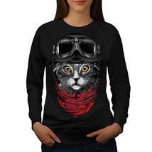 Cute Fashion Pilot Cat Jumper  Women Sweatshirt - $18.99