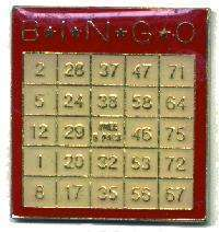 12 Pins - BINGO CARD , player hat cards lapel pin #1824